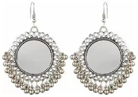 TAHIRA FASHION Silver Oxidised High Class Luxury Hot Selling Mirror Afghan Tribal Afghani Earrings very light weight.