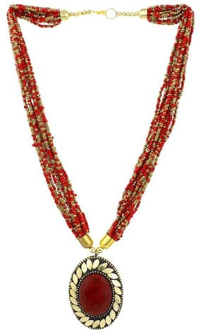 Tahira Fashion  Tribal Red Beaded Antique Necklace For Women And Girl