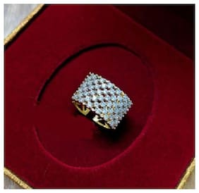 Tahira Fashion Jewelry Traditional Gold Plated AD Stone Color Silver Antique Finger Ring For Woman And Girls