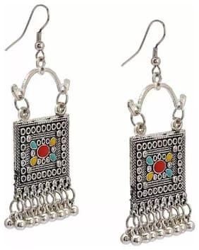 Tahira Fashion Design Oxidized Silver Stud With Mirror Work Designer Overs sized Jhumki Earring | Earrings for women stylish| Earring for women latest design |