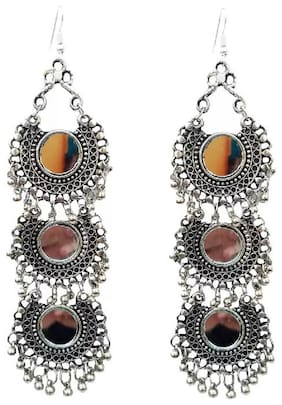 Tahira Fashion Beautiful Long Mirror Oxidized Silver Afghani Earrings Alloy Drops & Danglers