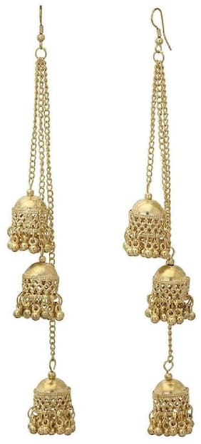 TAHIRA FASHION Collection Antique Afghani Triple Layered jhumka Jhumki for Women - Golden colour