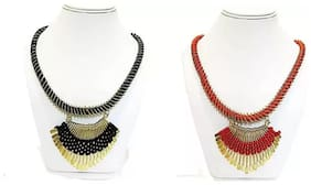 Tahira Fashion Red And Black Alloy Necklace Combo Set Of 2 For Woman And Girl