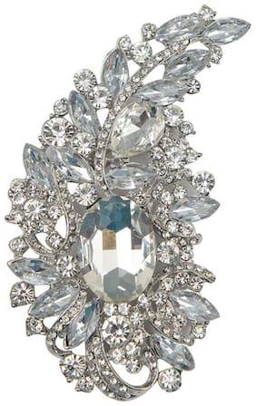 Taj Pearl Designer Wedding Wear Crystal Brooch