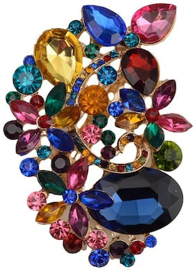 Taj Pearl Designer Crystal Brooch