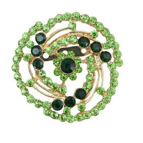 Taj Pearl Green And Golden Broach