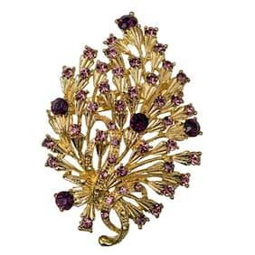 Taj Pearl Purple And Gold Broaches