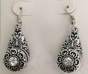 Teardrop Hook Charm Earrings.  4 Snaps: Butterfly Clear Blue Rhinestone