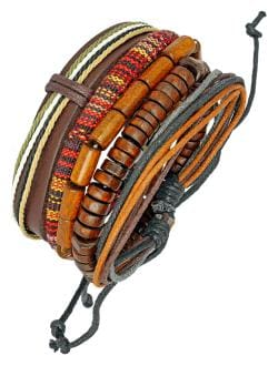 ZIVOM 100% Genuine Brown Leather Coconut Beads Dyed Rope Casual Wrist Band Strand Bracelet Boys Men