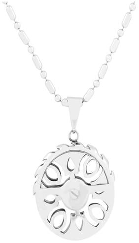 The Jewelbox Biker Wheel Rhodium Plated Silver Brass Necklace Pendant Chain Set For Boys Men