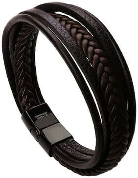 Leather Biker Bracelet Stylish Design by Rich and Famous