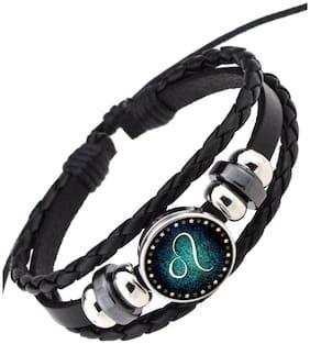 ZIVOM Leo 12 Constellation Zodiac Star Sign Good Luck Braided 100% Genuine Black Leather Wrist Band Strand Bracelet Unisex