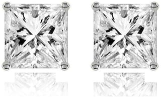 ZIVOM 316L Surgical Stainless Steel Ear Stud Pair Earring Square Princess Cut American Diamond