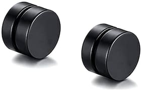 ZIVOM Dual Magnet 8 mm 316L Surgical Stainless Steel Black Rhodium Non Pierced Ear Stud Earring Pair Boys Men