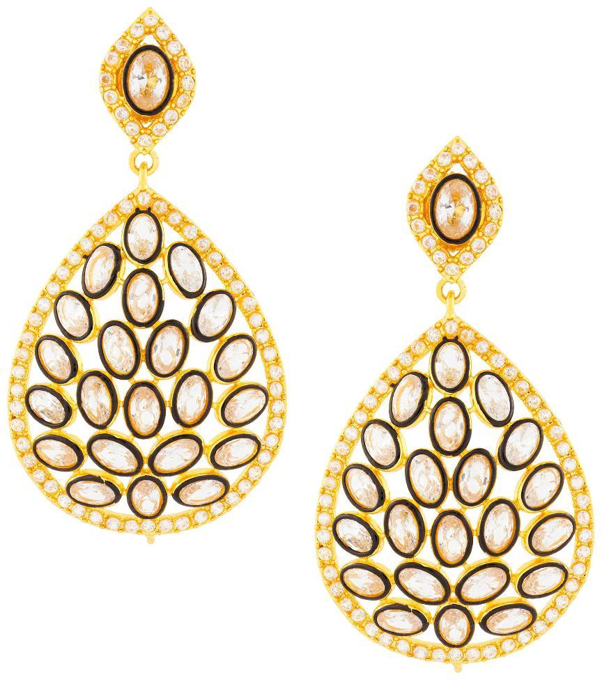 The Jewelbox Filigree Enamel Design 18K Gold Plated Filigree Crystal Cubic Zirconia Dangle Drop Earring For Women