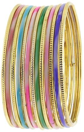 ZIVOM Trendy 22k Gold Plated Multi Colour Slim Bangle Set Of 13 For Women