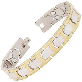 The Jewelbox Arrow Bio Magnetic Titanium Stainless Steel Two Tone Bracelet