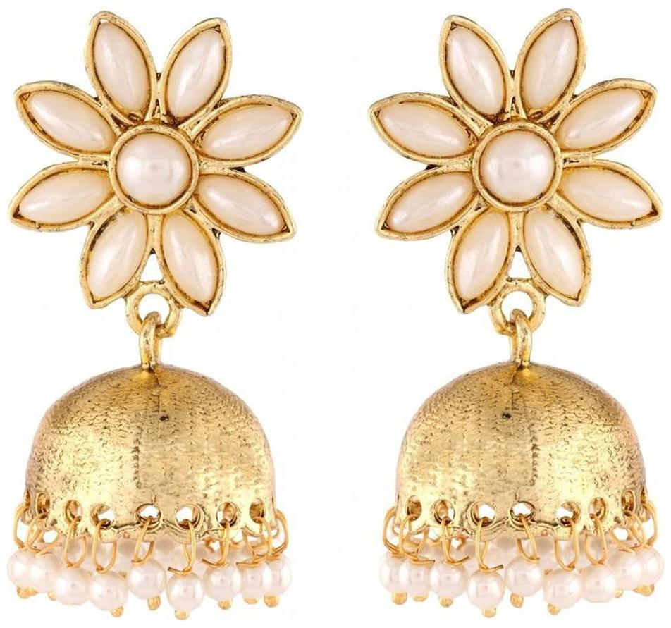 The Jewelbox Pearl Gold Plated Flower Cute Ethnic Traditional Jhumki Earring by Aanya Lifestyle
