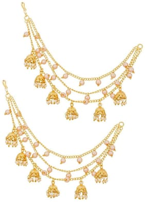 The Luxor White Pearls Beautiful Gold Plated Long Chain Jhumka Hair Chain