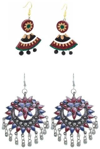 Three Shades Earrings Girls in Artificial Earrings Combo Set of 2 for Girls & Women
