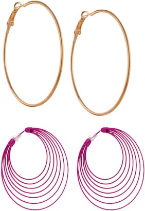 Three Shades Stylish Coloured Plated Hoop/Loop Tungsten Hoop Earring Combo Set of 2 Earring_006
