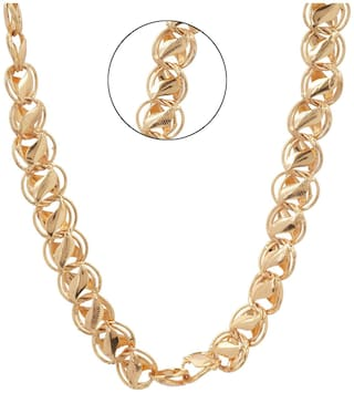 Three Shades Smooth Finish 22 inch Neck Chain Fashion Mala Gold-Plated Chain For Men & Boys