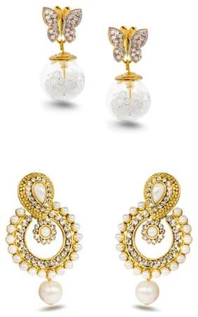 Three Shades Combo Set of 2 Beautiful Earring With Designer Ramleela Deepika Chandbali Earring Combo Set for Girls & Women 143