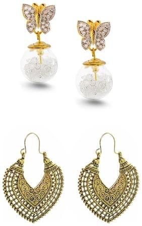 Three Shades Set of 2 pair of earrings Golden Heart Earring & Butterfly Textured Earring For Girls & Women