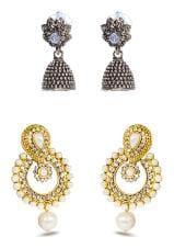 Three Shades Combo Set of 2 Beautiful Earring With Designer Ramleela Deepika Chandbali Earring Combo Set for Girls & Women 115