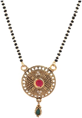Three Shades Gold Plated Traditional Mangalsutra For Women