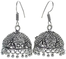 Three Shades Oxidized Silver Plated Jhumki / Jhumkas Earrings for Women & Girls