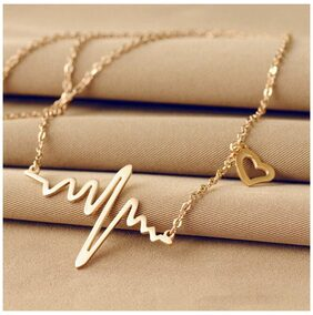 Popmode Tiara Necklace With Flat-Heartbeat Design & Heart Charm