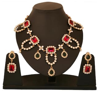 5ced27eda0 Buy Touchstone Antique Gold Plated Victorian Look Necklace Set ...