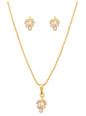 Touchstone Gold Plated Leaf Style Pendant Set