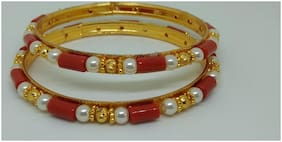 Traditional Red Coral and  Pearl  bangle set  of 2
