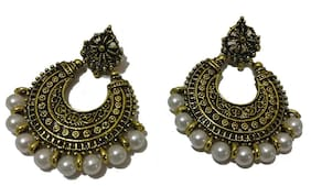 Traditional Pearl With Antique Gold Finish Studded Dangler Earrings