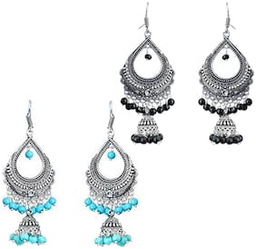 Traditional & Imitation Jewellery : Zcarina Turquoise & Black Pearl Silver Plated Chandelier Bali Jhumki Earring Combo of 2