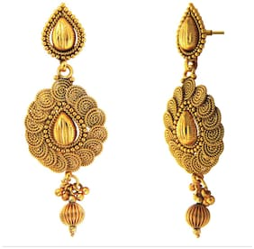 Traditional Ethnic Royal Shine Spirals Gold Plated Dangler Earrings for Women by Donna ER30118G