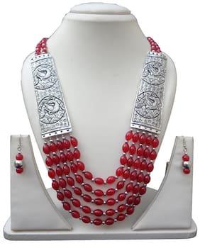 Trendeela.Com Tanzi Tribal Style Multi layered Red Bead Necklace Set