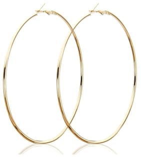 TRENDY GOLDEN HOOP EARINGS  90 MM FOR WOMEN AND GIRLS