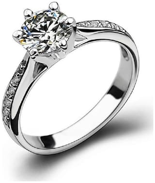 UC Jewellery Platinum Plated Fancy CZ Diamond Ring For Girls Love, Adjustable Party Wear Wedding Ring For Trendy Ladies, Fashion Jewelry For Women.