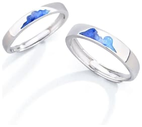 UC Jewellery His or Hers Matching Silver Plated Couple Rings Sets for Girls & Boys (2 Pcs) For Lovers in Blue