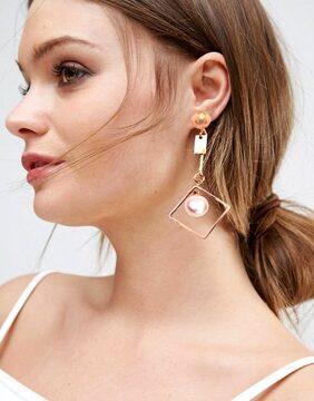 Unique Look Square Pearl Dangle Earring