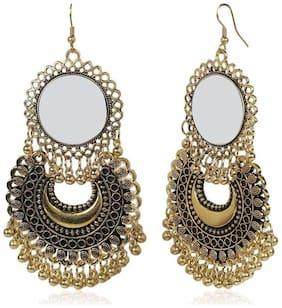 Urbanela Afghani Tribal Oxidised Dangler Stylish Fancy Party Wear Mirror Earrings for Girls and Women : ADGSE25-GOLD