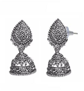 Urbanela Antique Designer Jhumki Earrings Oxidised Silver Fashion Jewellery  ADJ05
