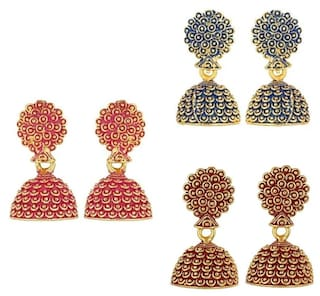 Urbanela Antique Designer Jhumki Earrings Blue ,Maroon, & Pink Earrings Combo Set of 3 Fashion Jewellery ADEC302