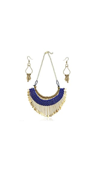 Urbanela Blue alloy necklace and earring set for girls (Pack Of 5)
