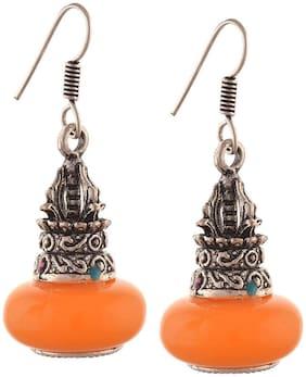 Urbanela Boho Stylish Trendy Antique Oxidised Afghani Tribal Fancy Party Wear Earrings for Girls and Women : UNGSE113-SILVERYELLOW