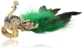 Urbanela Brass Peacock Feather Design Adjustable Ring for Girls and Women : ADPR01-GREEN