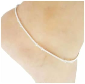 Urbanela chain style silver Anklet- silver payal for girls